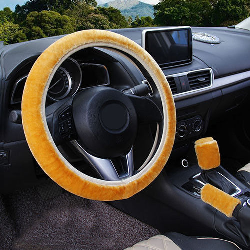 3Pcs Gold Winter Steering Wheel Cover Handbrake Car Automatic Cover/Warm Plush