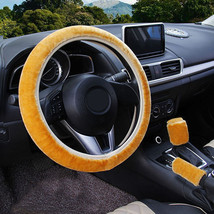 3Pcs Gold Winter Steering Wheel Cover Handbrake Car Automatic Cover/Warm... - $12.18