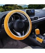3Pcs Gold Winter Steering Wheel Cover Handbrake Car Automatic Cover/Warm... - $12.18