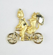 Vtg AJC gold tone romantic kitty cats riding tandem bicycle brooch - $20.79