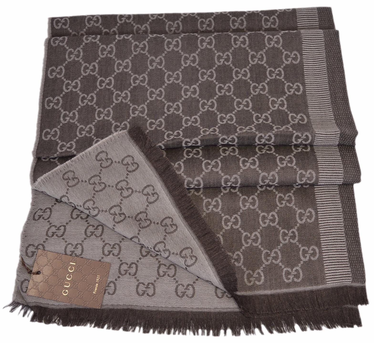 New Gucci 282390 Large Brown Sand Wool Silk GG Guccissima Scarf Muffler