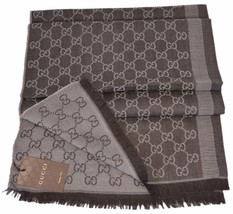 New Gucci 282390 Large Brown Sand Wool Silk GG Guccissima Scarf Muffler - £243.95 GBP
