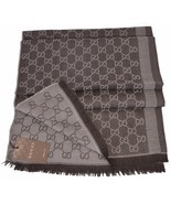 New Gucci 282390 Large Brown Sand Wool Silk GG Guccissima Scarf Muffler - £241.27 GBP