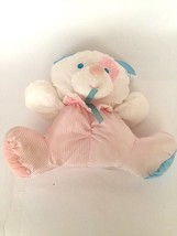 """Vintage 1983 14"""" Puffalumps Fisher Price White Pink Blue Rattling Dog To... - $46.53"""