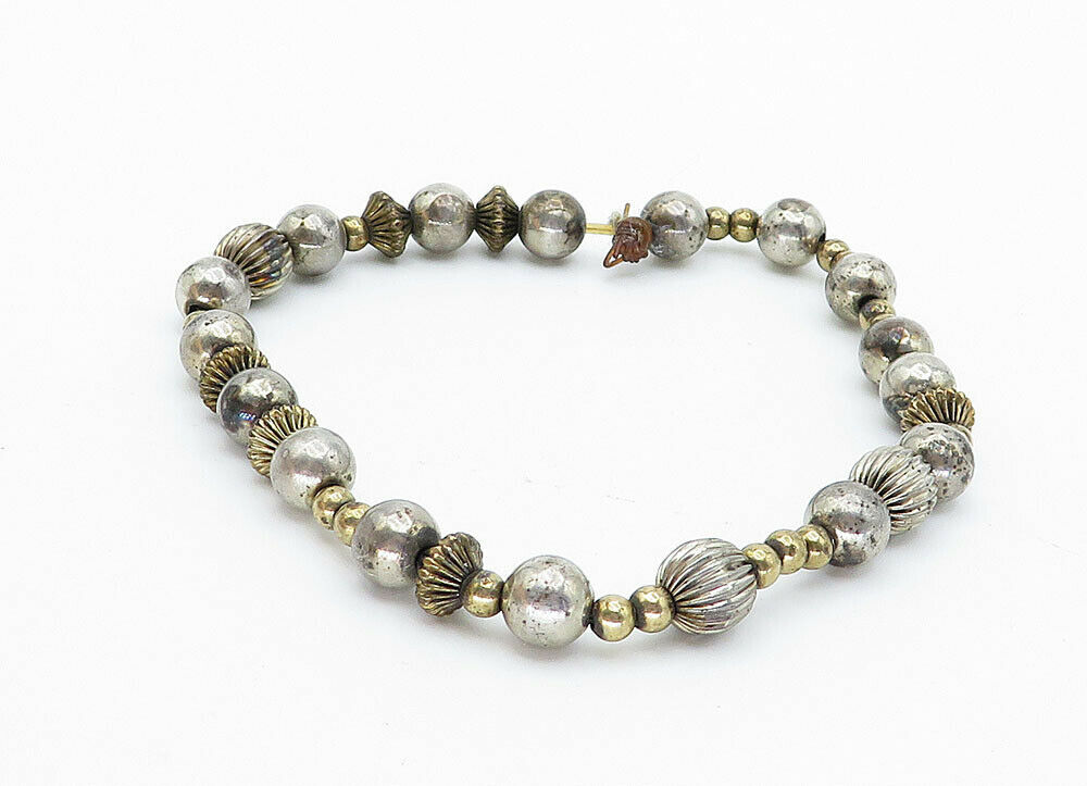 925 Sterling Silver - Vintage Two Tone Multi-Shaped Bead Chain Bracelet - B5927