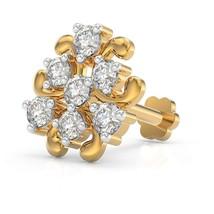 Natural Diamond Nose Pin 0.13Ct 18K Yellow Gold Piercing Certified Stamp... - $160.00