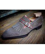 Handmade men's Gray Color Suede Shoes, Men's Monk Strap Fringe dress For... - $159.97+