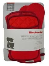 Kitchenaid 4 Stück Küche Set mit Silikon, 2 Topflappen Handschuhe & 2 - Rot - $24.73