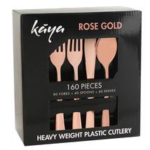 Kaya Collection - 160 PC Disposable Rose Gold Plastic Silverware Set - $26.99