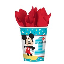 Mickey Mouse Fun to Be One 1st Birthday 8 Ct 9 Oz Hot Cold Paper Cups - $4.74