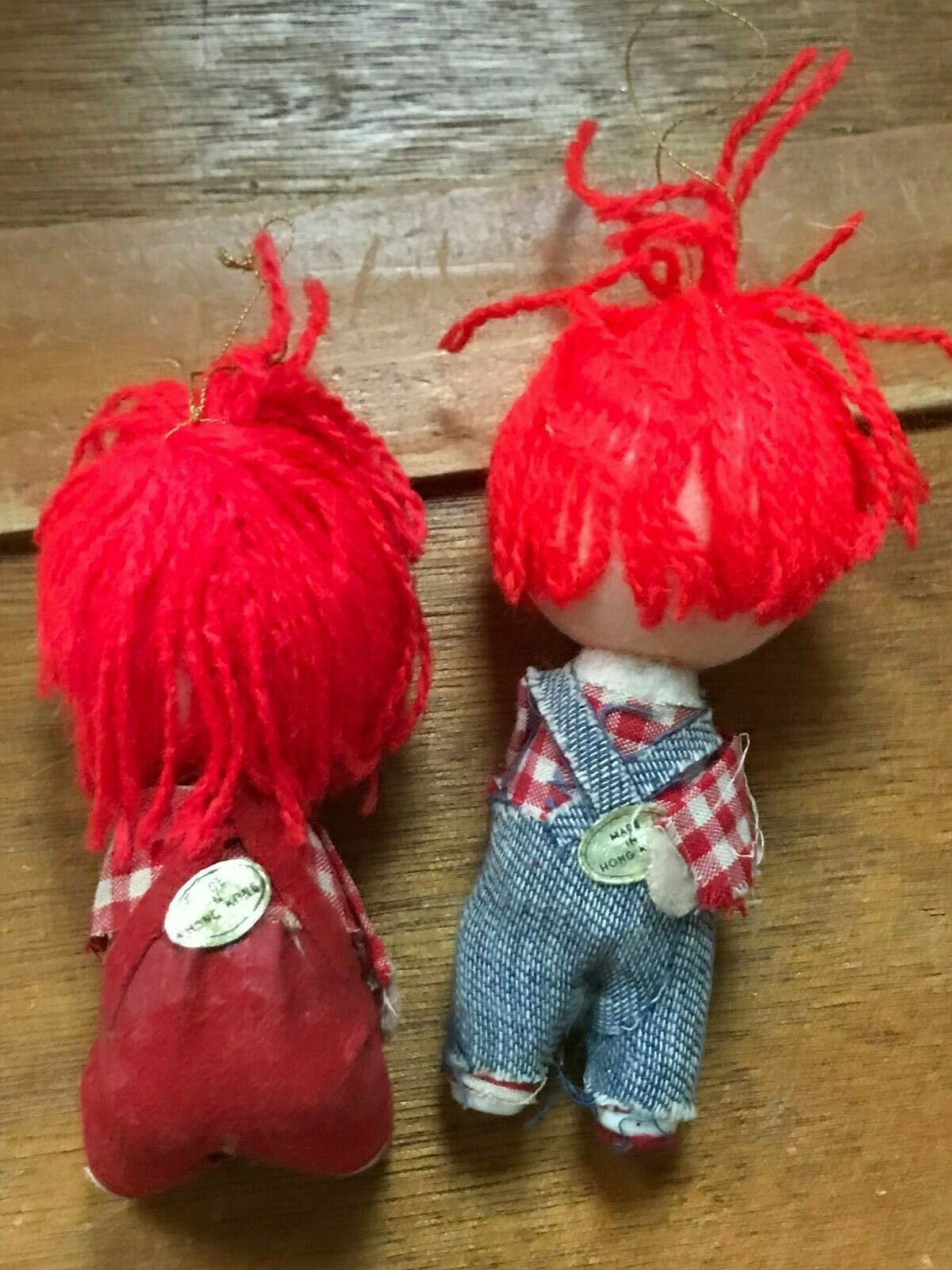 Vintage Pair Lot of Raggedy Ann & Andy Christmas Tree Ornaments – made in Hong  image 4
