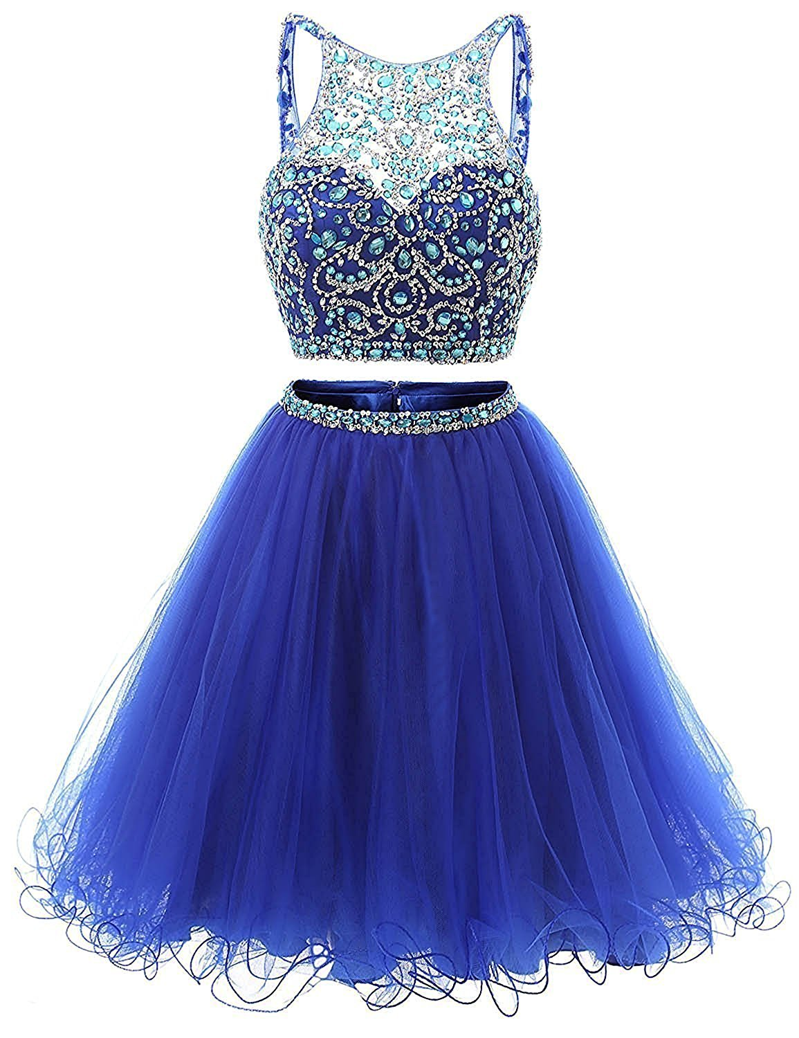 Primary image for Crystal Two Pieces Beads Homecoming Dresses Short Sequined Tulle Prom Party Gown