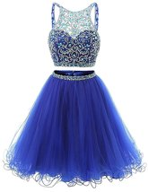 Crystal Two Pieces Beads Homecoming Dresses Short Sequined Tulle Prom Pa... - $148.00