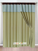 4-Pc Clover Trellis Floral Curtain Set Sage Blue Brown Valance Drape She... - $40.89