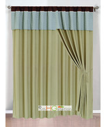 4-Pc Clover Trellis Floral Curtain Set Sage Blue Brown Valance Drape She... - $40.89