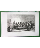 AFRICA Abyssinian Natives Having Dinner - 1843 Antique Print Engraving - $8.44