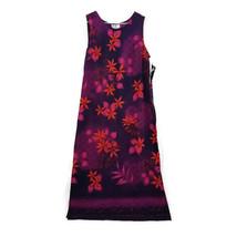 R&K Originals Hawaiian Floral Purple/Pink/Red Maxi Tank Dress Womens Siz... - $18.76