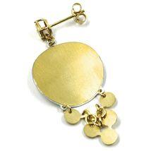 18K YELLOW WHITE GOLD PENDANT EARRINGS, SATIN FRAMED SPIRAL DISC, BUNCH, 4.5 cm image 5