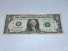 2013 $1 Dollar Bill US Bank Note Date Year Birthday 3358 1909 Fancy Mone... - $12.40