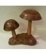 Mid Century Monkey Pod Wood Mushroom Appetizer Party Server Hors D'oeuvr... - $23.56