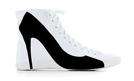 Big City White Canvas Black Stiletto Sneaker By BE&D / Maison Dumain - $49.49