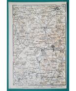 1897 BAEDEKER MAP - ENGLAND Warwick & Environs + Plan of Kenilworth Castle - $7.65