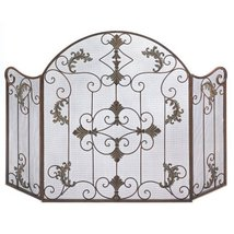 Accent Plus Fireplace Screens Three Panel, Arched Cast Iron Florentine Fireplace - $90.99