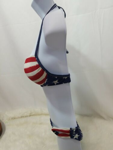 Xhilaration Q Junior Girls  2 Piece American Flag Bikini Medium Top  image 2