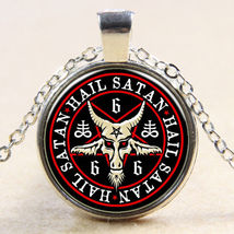 HAIL SATAN CABOCHON NECKLACE   #  9397     COMBINED SHIPPING - $5.75