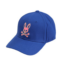 Psycho Bunny Men's Strapback Two Tone Skull Logo Deep Royal Baseball Cap Hat image 2