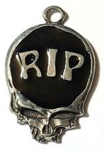 RIP Skull Fine Pewter Pendant Approx. 1 5/8 inches tall image 7