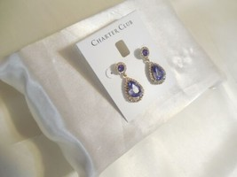 "Charter Club 1-1/3"" Gold-Tone Crystal & Purple Stone Drop Earrings R716 $24 - $13.43"