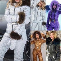 Womens Ski Suit Windproof Jumpsuit Hooded Playsuit Winter One Piece Snowsuit Glo image 12