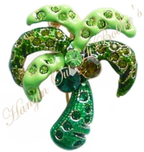 Palm Tree Pin Brooch Green Crystal Multicolor Tropical Theme Gold Tone Metal - $9.99