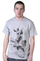 Tavik Hombre Gris Plata Negro Sagrado Surfero California Jesús Waves T-Shirt Nwt