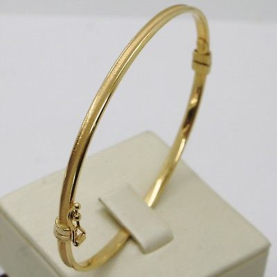 18K YELLOW GOLD BANGLE RIGID BRACELET, SMOOTH AND SATIN INSIDE, MADE IN ITALY