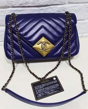 100% Authentic Chanel Royal Blue Lambskin Chevron Quilted Pyramid CC Flap Bag