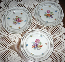 C Schumann-Bavaria-Plates-Reticulated/Pierced-Floral- 7 in.-Set of 3-Ger... - $25.00