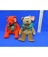 2 TY Beanie Babies Plush Original Stuffed Animal 2000 Mistletoe & 2004 H... - $12.22