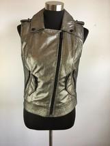 BCBGeneration Womens Jacket Moto Vest S Small Gold Metallic Pockets Utility - $49.49