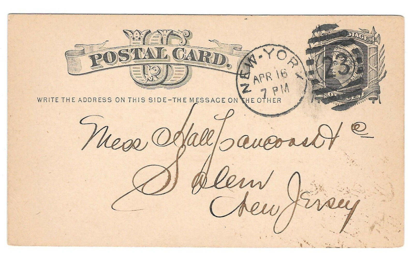 Primary image for 1878 UX5 Postal Card New York Duplex 23 9 bar oval Cancel Nice Strike