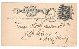 1878 UX5 Postal Card New York Duplex 23 9 bar oval Cancel Nice Strike - $4.99