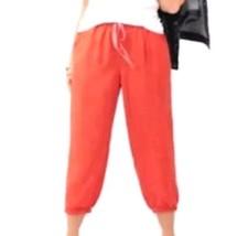 Lane Bryant Orange Linen Blend Pull On Jogger Pants Capris Crops Plus Sz 22/24 - $13.62