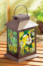 Metal stained glass solar garden yard patio deck table outdoor floral la... - $24.00