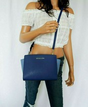 NWT MICHAEL KORS SELMA SAFFIANO LEATHER MESSENGER BAG BLUE SAPPHIRE - $79.08