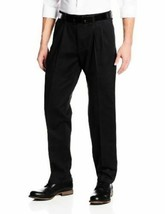 New Lee Mens Stain Resistant Relaxed Fit Pleated Pant Black 42W X 30L - $22.24