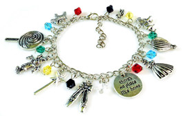 The WIZARD OF OZ Silver Beaded Charm Bracelet 7.5 inch NEW image 1