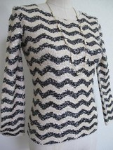J. Crew ZigZag Sequin Tee XXS 100% Cotton Knit T Top Shirt Ivory Black orig $138 - $16.82