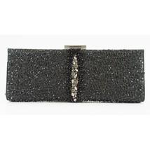 Salvatore Ferragamo Kameron Black Silver Framed Beaded Jewel Clutch Bag $2590 - $1,281.56