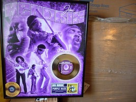 Jimi Hendrix Wall Art Heavy Metal Legend Framed Gold Record Display Purp... - $165.00